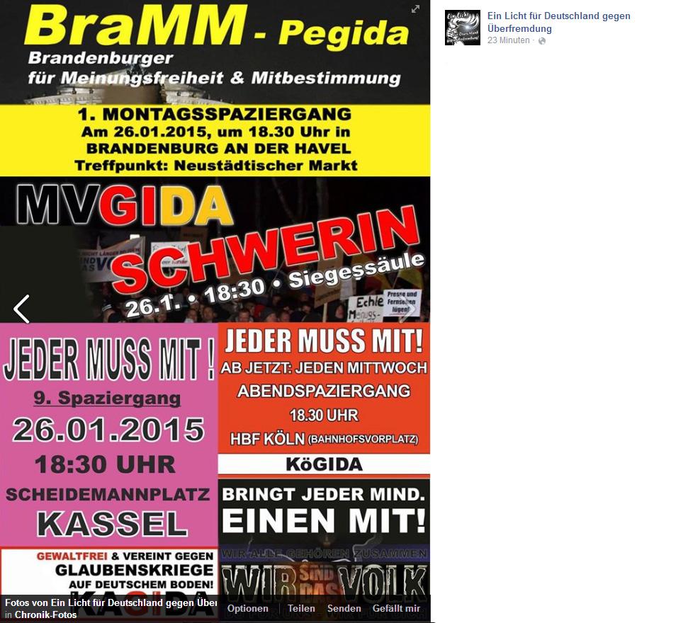 """""""Ein Licht für Deutschland gegen Überfremdung"""" wirbt unter anderem für den BraMM-Spaziergang"""
