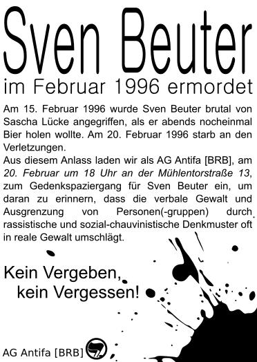 Flyer zur Gedenkveranstaltung für Sven Beuter