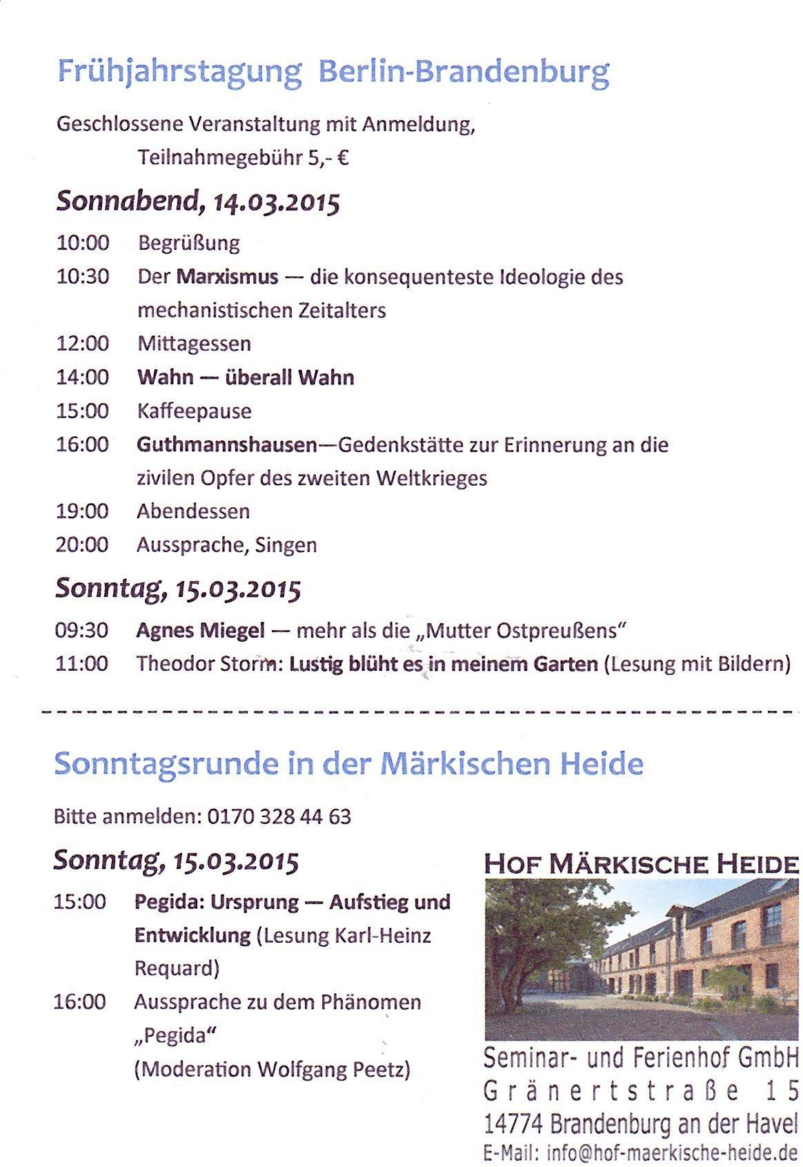 Flyer und Programm des Workshopwochenendes 14./15. März 2015